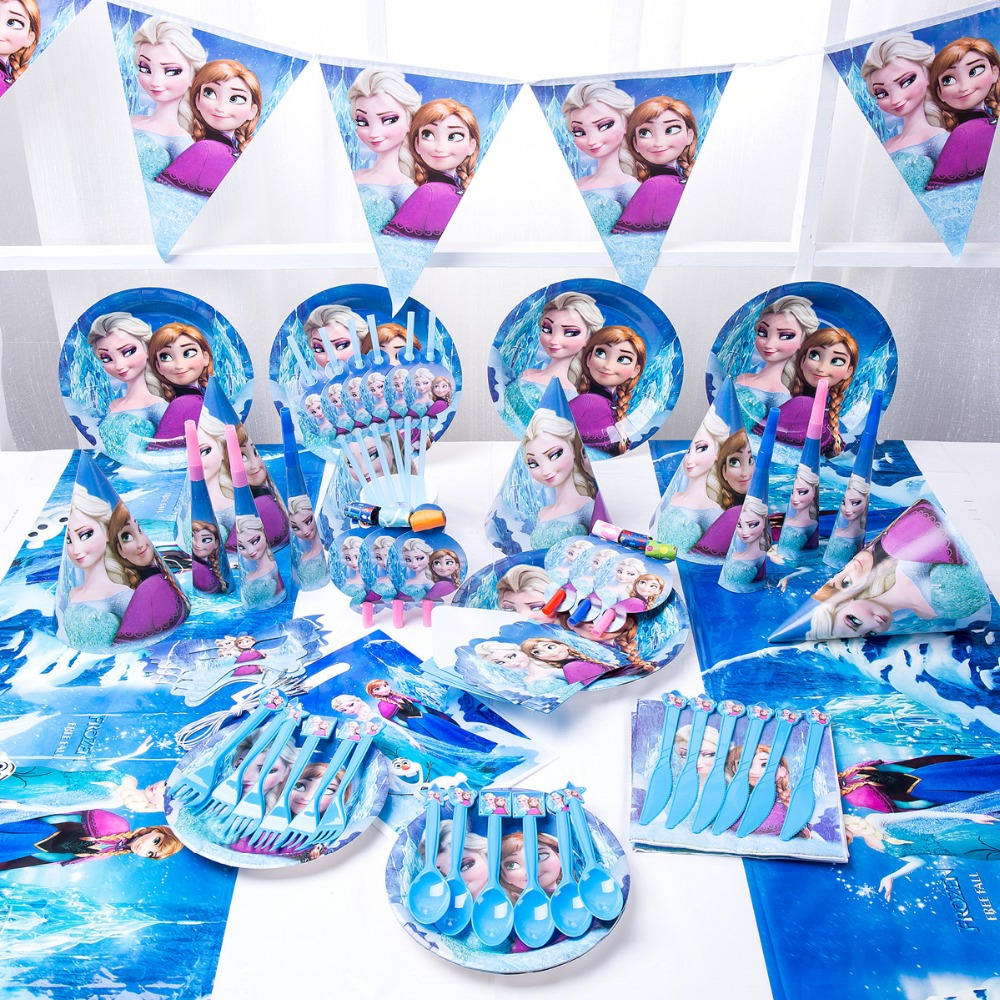 16kinds 107pcs Luxury Elsa Anna Kids Happy Birthday Party Decoration Set Party Supplies Baby Shower Wedding Princess Supplies