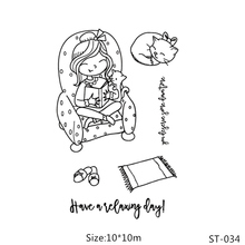 AZSG Reading Girl Lovely Cat Clear Stamps/Seals For DIY Scrapbooking/Card Making/Album Decorative Silicone Stamp Crafts