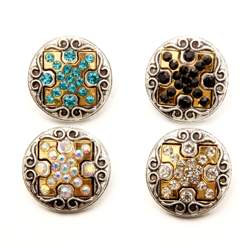 Gold&Silver Plating Cross Metal Snap Buttons Fit 18mm 20mm Snap Button Bracelet Jewelry Charms Findings Accessories EBT181
