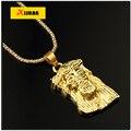 Hip hop 80 CM largo collar Collier chapado en oro de Jesús cruz Colgante y Collar de la Joyería de Moda de Alta calidad para las mujeres y de los hombres