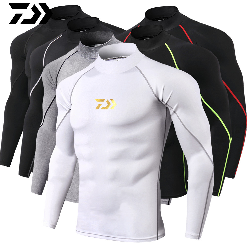 DAIWA New Men's Sports Long-sleeved T-shirt Tight-fitting T-shirt Top Jogging Compression Quick-drying T-shirt Fishing Clothes