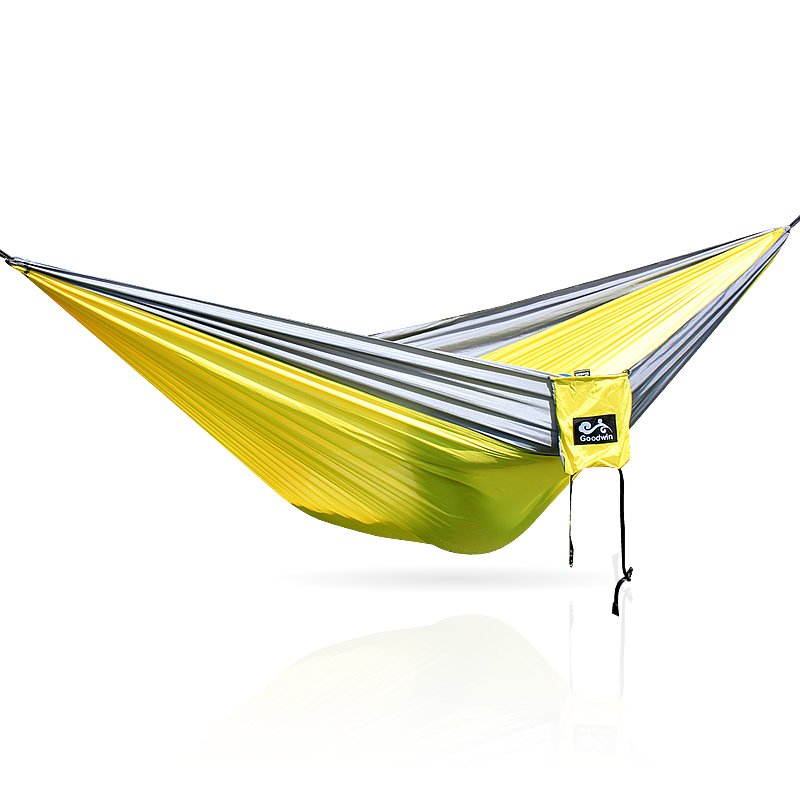 Gray Yellow Gray 300*200CM 210T Nylon Hammock Outdoor Furniture