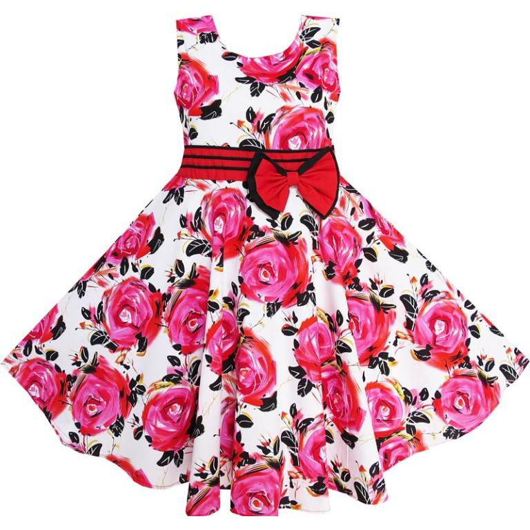 Flower Girl զգեստ Red Rose Party Summer Sundress Cotton Child - Մանկական հագուստ