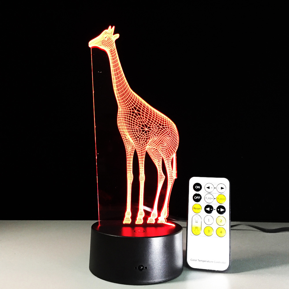 Giraffe 3D LED Lamp Remote and Touch Switch Visual Led Night Lights For Kids USB Table Lampara Besides Lamp Baby Sleeping Night