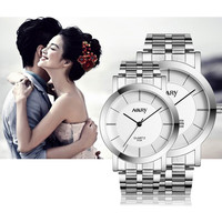 Couple watches for Lovers Stainless steel 1 Pair Lady Watch Mens Women Quartz Wrist watches Set Lover's Gift Clock Boys Girls533