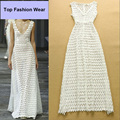 HIGH QUALITY New Fashion 2016 Runway Maxi Dress Women's V-neck Sleeveless Lace Long Casual Dress