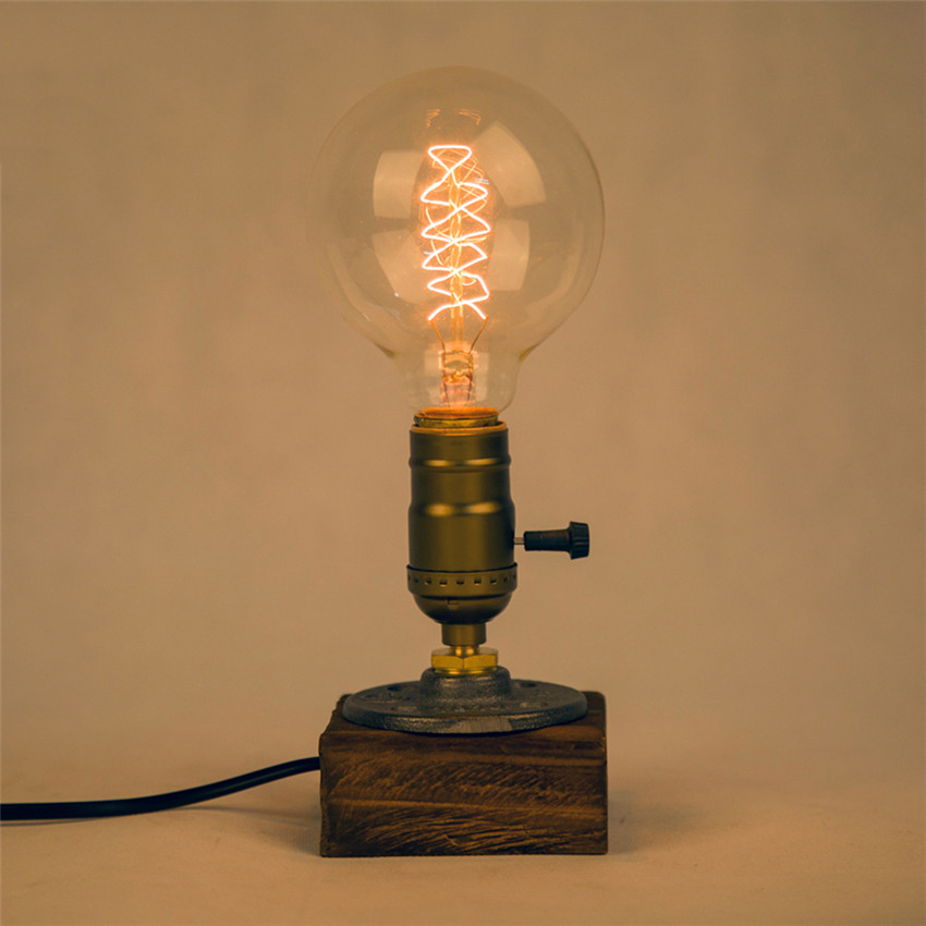 industrial vintage edison wooden base socket e27 desk light home decor table lampchina