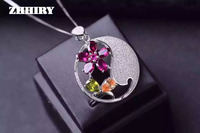 100 Natural Garnet Pendant Necklace Genuine Citrine 925 Sterling Silver Gem Green Peridot Stone Fine Jewelry