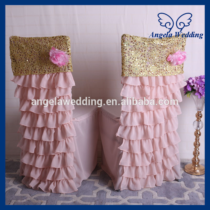 Amazing Us 7 97 Ch029A1 Hot Sale Blush Pink And Gold Ruffled Wedding Chiavari Chair Covers With Flower In Chair Cover From Home Garden On Aliexpress Machost Co Dining Chair Design Ideas Machostcouk
