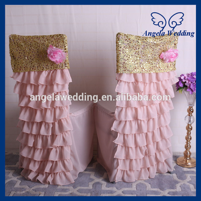 CH029A1 Hot Sale Blush Pink And Gold Ruffled Wedding Chiavari Chair Covers  With Flower