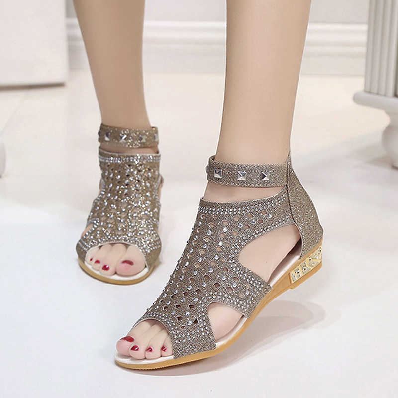 Fashion 2018 Sandals Women Sandalia Feminina Casual Rome Summer Shoes Fashion Crystal Gladiator Sandals Women Sandalia Mujer phyanic 2017 gladiator sandals gold silver shoes woman summer platform wedges glitters creepers casual women shoes phy3323