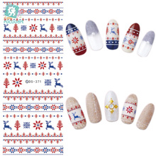 лучшая цена DS371-372  Water Transfer Nails Art Sticker 2017 New Year Christmas Xmax Deer Harajuku Nail Wrap Sticker Tips Manicura sticker