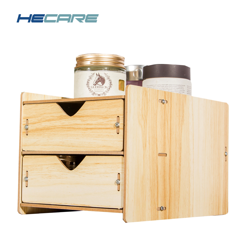 HECARE Desktop Wooden Drawer Organizer Home Office Two Layer Sundries Storage Box with Drawers Wood Organizer Drawers Container  drawer