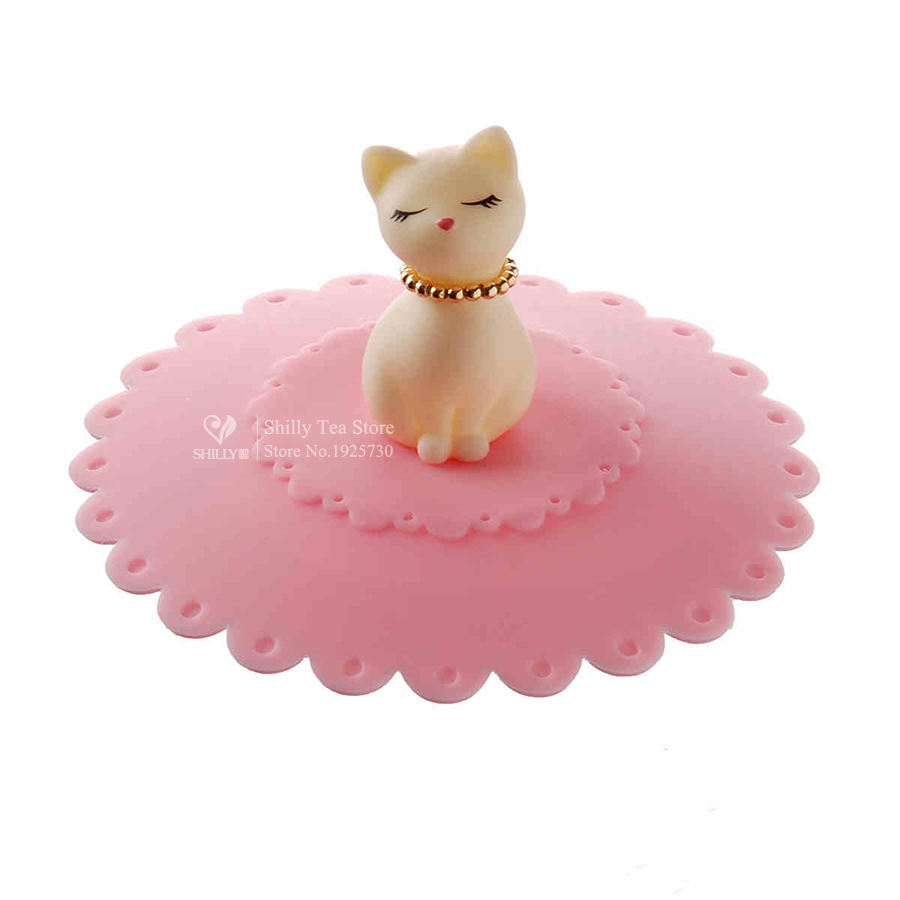 1pcs Cute Cat Silicone Glass <font><b>Cup</b></font> Cover Coffee Mug Suction Seal Lid Cap Silicone Airtight Love Creative