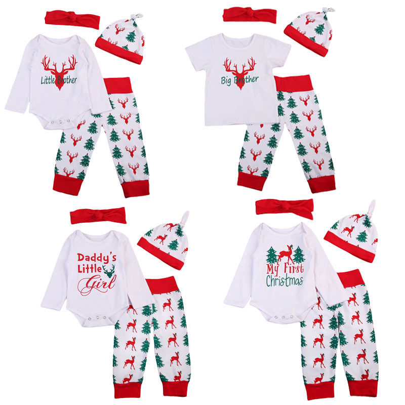 0-24M Christmas Newborn Boy Girl Clothing Set Long Sleeve Brother Sister Romper Tops Pant Hat Headband Outfit Xmas Clothes New my first christmas newborn baby girl long sleeve cotton romper tops snowman print bowknot skirt headband 3pcs xmas clothes set