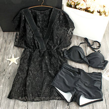 2017 Sexy Lace Bikinis Women Swimsuit Push Up Swimwear Halter Solid Black Bikini Set Beachwear Bathing Suits Swim Wear Dress