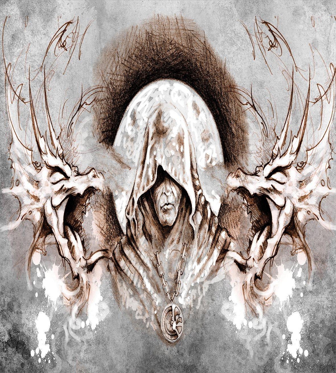 Дракон пододеяльник набор монах ведьма на ветвях деревьев фон Готический средневековый магия художественного графические декора 4 шт. постельные принадлежности - 2