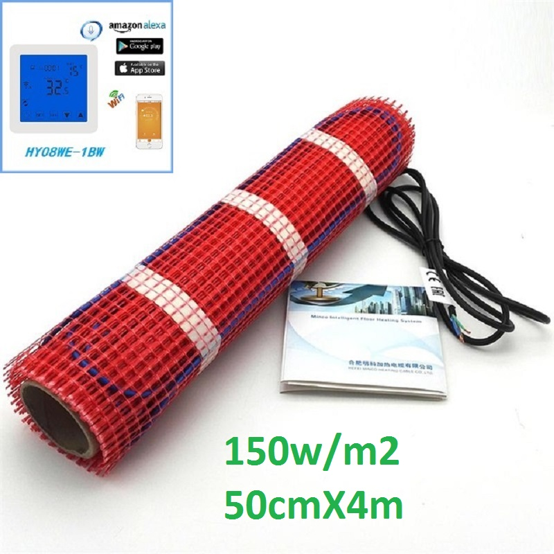 High Quality 2m2 150w/m2 Electric Underfloor Heating Mat Kits 50cmX4m 220V Warming Mat With Thermostat