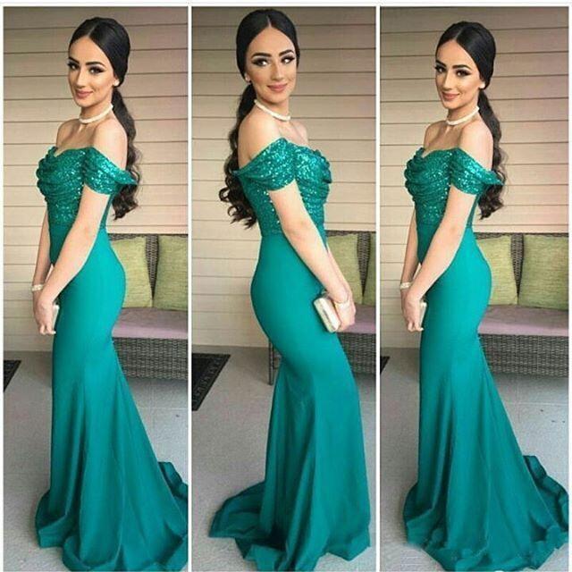 a0cc94428aa Vestido de Noche Sexy Off the Shoulder African Prom Dress Long Evening  Gowns Elegant Dark Green Sequin Mermaid Evening Dress