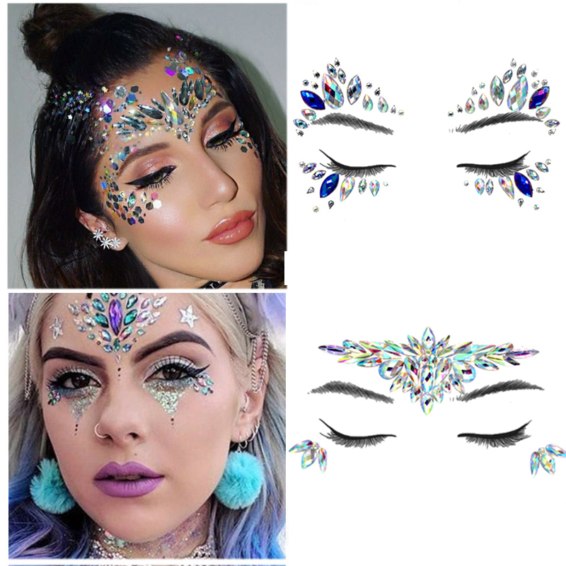 Temporary Crystal Face Eye Tattoo Stickers 3D Glitter Face Gems Jewels Sticker Eyebrow Music Festival Body Art Diamond Tattoo
