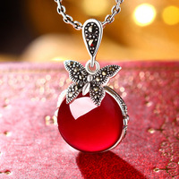 21*18mm women jewelry Natural semi precious stones Red corundum butterfly 925 Sterling Silver pendant with chain lovers gift