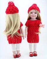 Hot Koop Koreaanse stijl o-hals korte mouw speelgoed jurk leuke amerikaanse 18 inch meisje pop pak rode prinses kleding