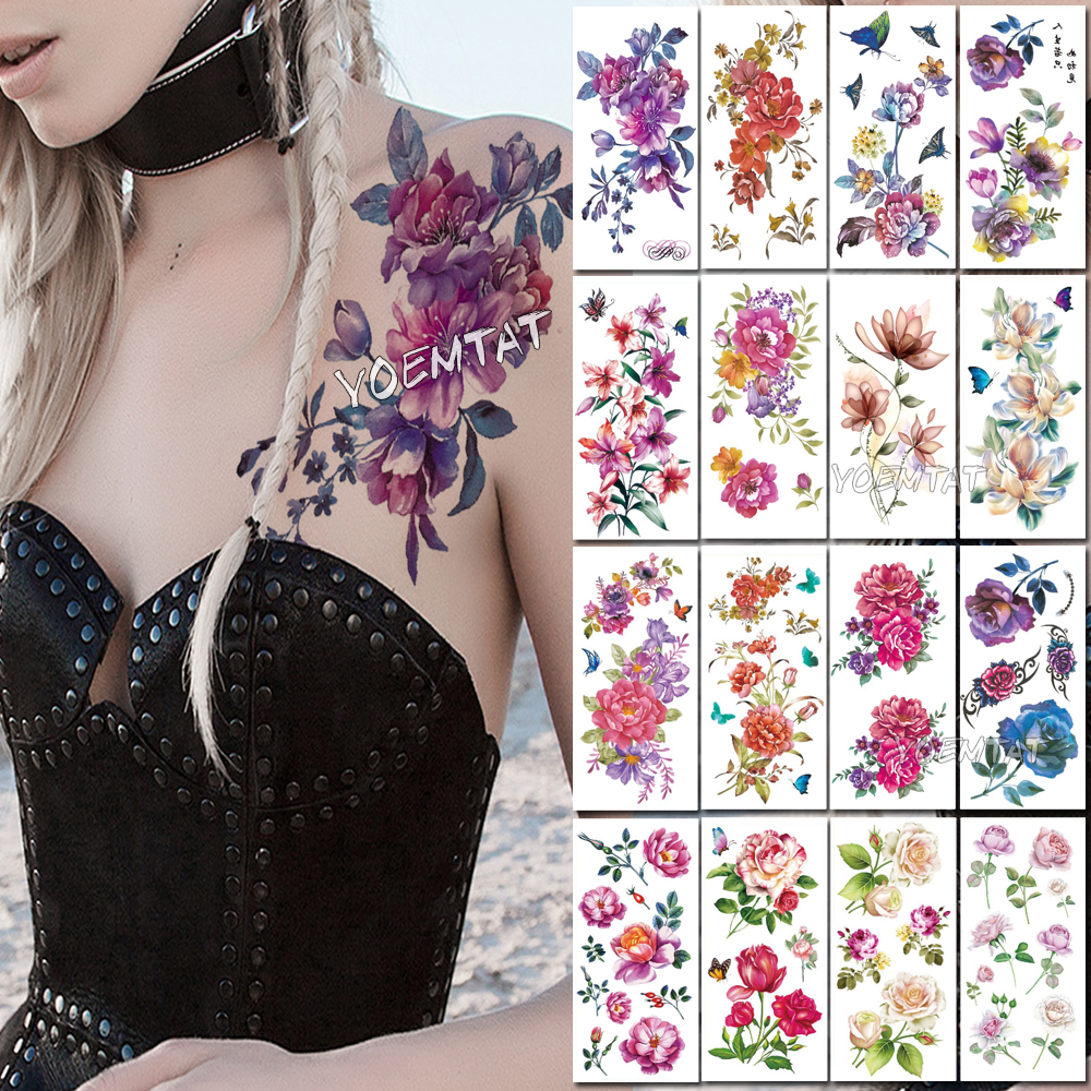 Purple Watercolor Rose Lily Flower Waterproof Tattoo Stickers Women Body Chest Art Temporary Tatto Girl Waist 3D Flowers Tatoo