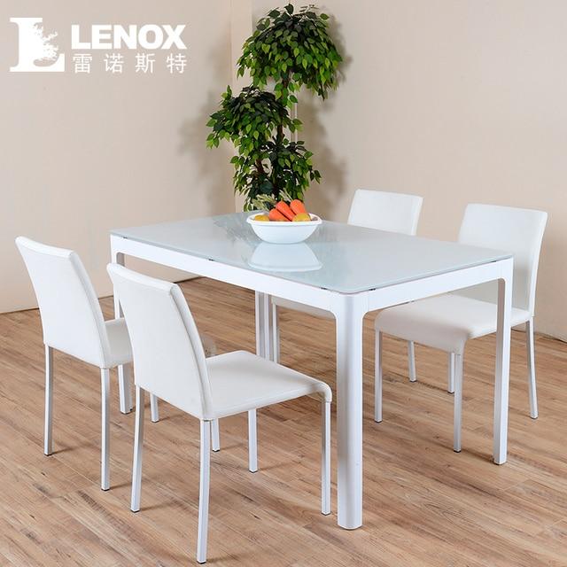 Lenox peque o apartamento minimalista blanco cristal mesa de comedor y sillas combinaci n - Mesa comedor minimalista ...