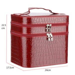 Image 2 - ผู้หญิงจระเข้กล่องเครื่องสำอางคุณภาพสูงกระเป๋าเครื่องสำอางแบบพกพาขนาดใหญ่ความจุ PU เครื่องสำอางค์กระเป๋าแต่งหน้า Dedicated