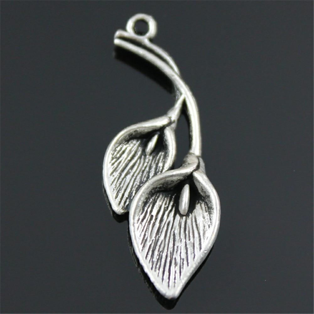 WYSIWYG 4 pc'er. 40x14 mm Vedhæng Calla Lily Calla Charm Vedhæng til smykker at gøre antik sølv Calla Vedhæng