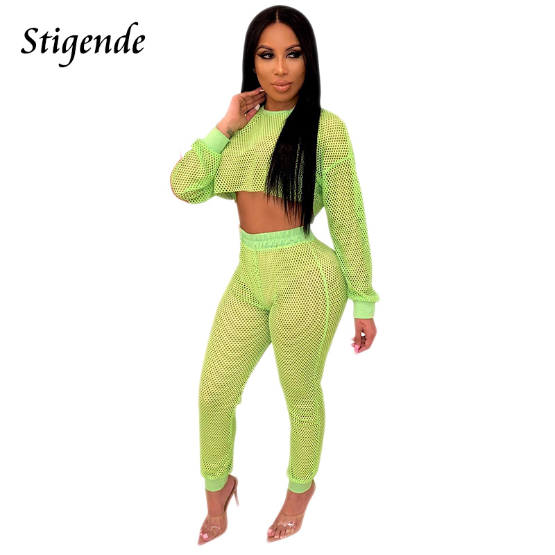 Stigende Pant Two-Piece Outfit-Set Crop-Top Mesh Long-Sleeve Sexy Women Ladies 2pcs And thumbnail