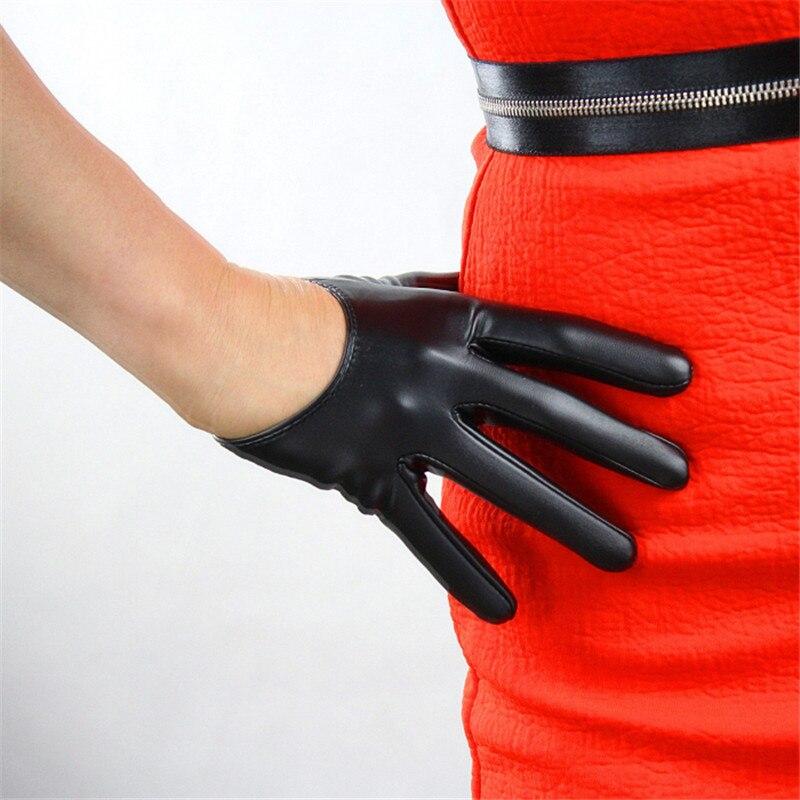 En Cuir verni Style Court Femmes Gants Émulation Véritable En Cuir Sans Doublure Français Gothique Rock Rouge PU En Cuir Gants P011