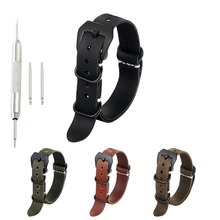 ONTHELEVEL ZULU Leather Watchband NATO Watch Band Strap 18mm 20mm 22mm 24mm 26mm  Black Buckle for Men watch accessories