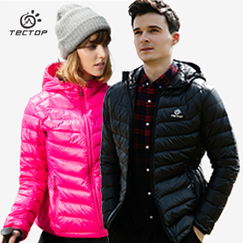 TECTOP folding Winter Down Jacket Men Women Outdoor light white duck down coat Slim ski Suit
