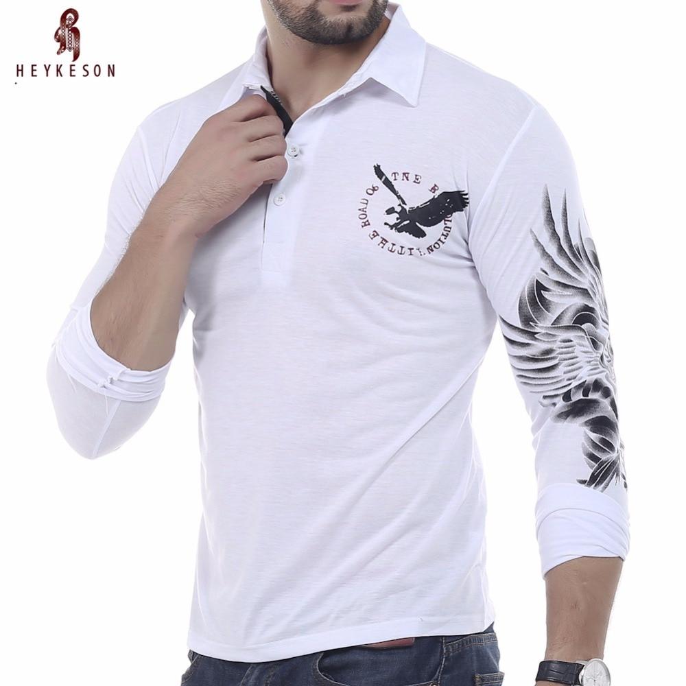 a888e4ea HEYKESON T Shirt Men 2018 Brand Male Long Sleeve Hip Hop Solid Eagle  Printing T-Shirts Mens Casual Mens Slim Tshirt Slim XXL CBS