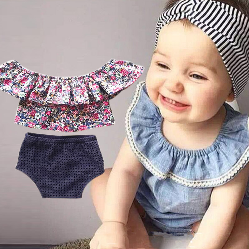 New Fashion Summer Baby Cute Sleeveless Tops + Briefs Set Baby Girls Clothes Cotton Falbala Vest M09