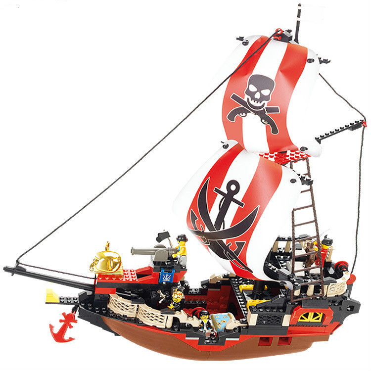 Sluban Pirate Ship Toys Pirate Of The Caribbean Treasure Ship Weapons Building Blocks Bricks Sets Figures Compatible With Legoe kazi building blocks toy pirate ship the black pearl construction sets educational bricks toys for children compatible blocks