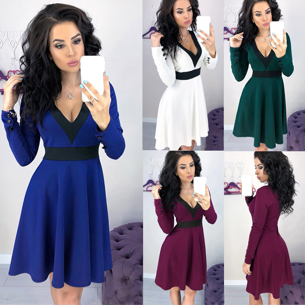 f843f248e5431 US $9.48 43% OFF|Women Swing Dress Backless Pleated Elegant Party Wear Deep  V Neck Blue White Black Classy Vestido Fashion Summer Dresses Clothes-in ...