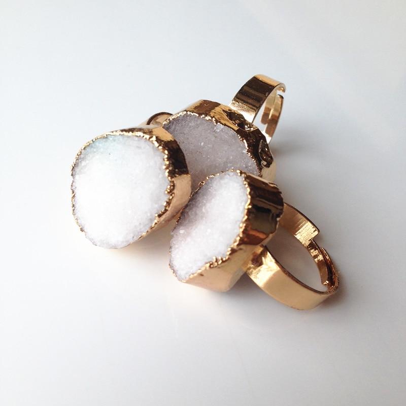 Nya geometriska Druzy Ring Många färger Alternativ Naturliga kvarts - Märkessmycken - Foto 3