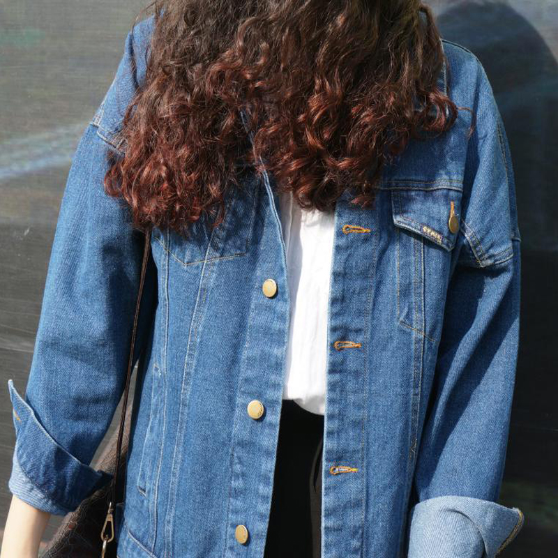 Oversize Blue Autumn 2017 Loose Coat Jacket Fashion New Vintage Slim And Jeans Blue dark Winter Women Harajuku Denim Light 2018 Solid Female A1PxqEwq