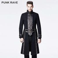 Punk Motorcycle Mens Coat Long Black Gothic Steampunk Horseman Military Jacket