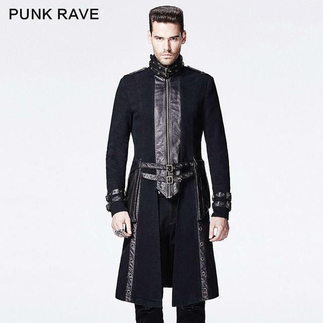 Hommes Punk Manteau Noir Long Steampunk Cavalier Moto Gothique hrtQCxsd