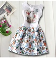 Cartoon Dog Animal New Baby Girls Dress Party Gift 2016 Brand Princess Dress for Girls Clothes Graffiti Pattern Kids Dress Cloth