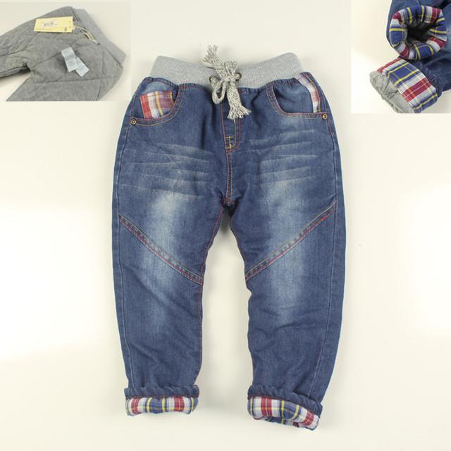 Bebés de Invierno Denim Jeans Kids Espesar Cálidos pantalones Vaqueros de Los Muchachos de Invierno Pantalones Largos Pantalones de Mezclilla Suave Niño