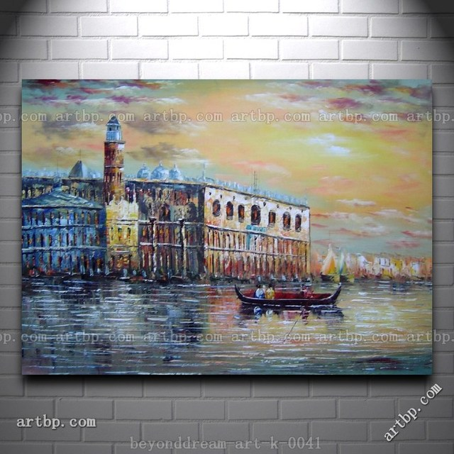 Italian venice scene serenity bay oil painting impressionism canal black white canvas art paintings for