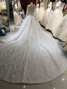 Image 5 - Vestidos דה Novia 2020 ערבית יוקרה חרוזים תחרה חתונה שמלה ארוך שרוול 3D פרחוני חתונת כלה שמלות robe דה mariee