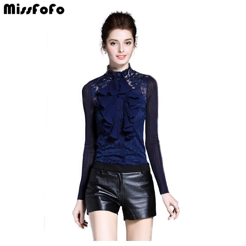 MissFoFo 2019 automne nouvelle mode Blouse Royal Lotus dentelle col en mousseline de soie chemise femme à manches longues printemps chemise bleu taille S-2XL