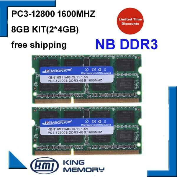 KEMBONA ordinateur portable ddr3 1600 mhz 8 GB (Kit de 2X4 GB) DDR3 PC3-12800s 1.5 V Si-DIMM 204 Broches Module de Mémoire Ram Memoria pour Ordinateur Portable