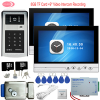 Home Phone Rfid Code Panel 9'' Doorbell Camera Video Recording 8GB TF Card For Video Door Phone 2 Monitors With Electronic Lock