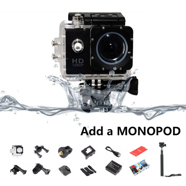 720P HD Sport DV + Monopod 1.5inch LCD SJ 4000 Action Mini Camera Photo Video Recorder 30M Waterproof Helmet Cam Mini Camcorders